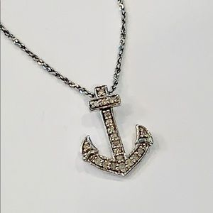 Sterling silver natural genuine diamonds anchor